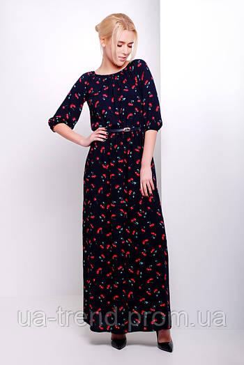 Женское летнее длинное платье в пол из натурального хлопка в вишенки