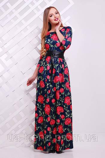 Трикотажное длинное платье в цветы (40% шерсть)