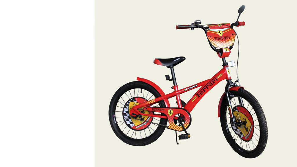 """Велосипед двухколесный 18 дюймов """"Ferrari"""" со звонком, зеркалом, ручным тормозом"""