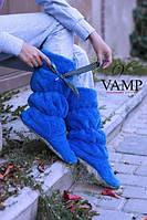 Тапочки сапожки Бантик ярко синие, фото 1