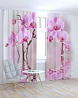 Фотошторы розовые орхидеи над водой