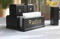 """Салфетница. Набор для специй.Салфетница деревянная.Набір для спецій.Подставка для зубочисток.""""Золото"""""""