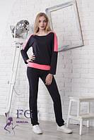 Черный спортивный костюм с розовыми вставками