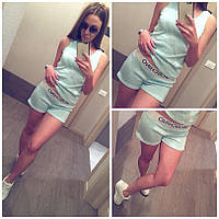 Женский летний спортивный костюм майка и шорты Moschino размер S