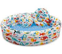 Арт. 59469 Детский надувной бассейн Intex Рыбки (132х28см) с мячом и кругом