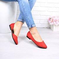 Туфли балетки женские London красные, эко-замша, фото 1