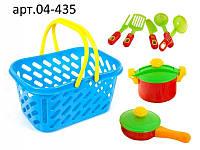 Игрушечная посуда в корзинке, 7 предметов