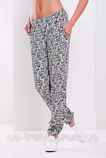 Женские молодежные брюки из натуральной ткани на лето