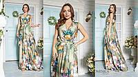 Потрясающее, женское, летнее платье-макси из шелка с цветочным принтом.  42-52р