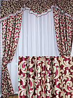 Ламбрекен со шторами на карниз 1.5-2м*2,75м. Код 089лш073(А) (У)