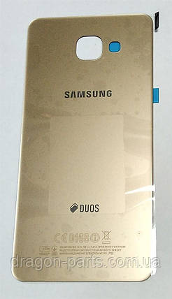 Задняя крышка стеклянная Samsung A710 Galaxy A7 2016  золотая gold оригинал, GH82-11325A, фото 2