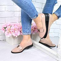Туфли женские V лаковые бежевые, фото 1