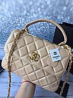 Cумочка Chanel натуральная кожа бежевая (реплика), фото 1
