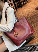 Большая вместительная сумка с мраморным оттенком и тиснением , фото 3