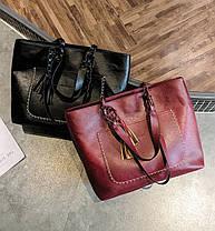 Большая вместительная сумка с мраморным оттенком и тиснением, фото 2