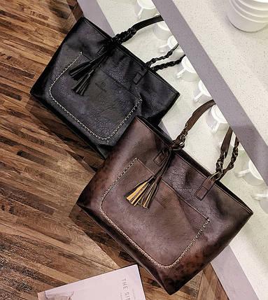 Большая вместительная сумка с мраморным оттенком и тиснением , фото 2