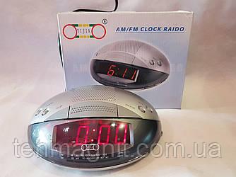 Годинник мережеві YJ-620 + радіо FM+будильник (червоні)