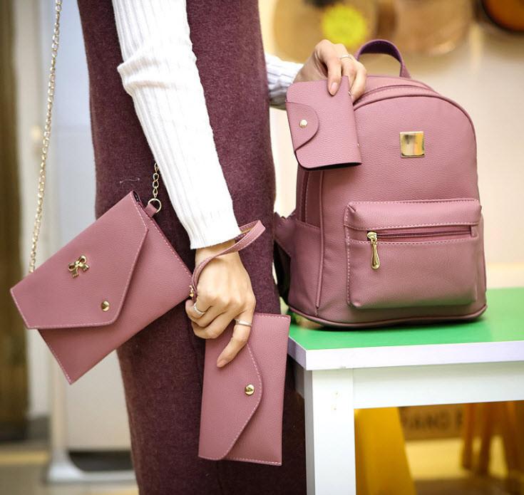 Оригинальный набор 4в1 для современных девушек, рюкзак, клатч, косметичка, визитница