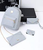 Оригинальный набор 4в1 для современных девушек, рюкзак, клатч, косметичка, визитница, фото 3