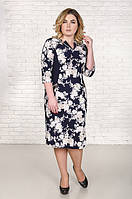 Красивое платье большой размер Налинда кремовые розы на синем (52-62)