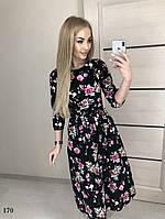 Платье расклешенное миди цветочный принт коттон 42,44,46