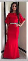 Женское красивое платье макси с поясом