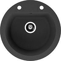 Черная круглая мойка из искусственного гранита Puffino UNO 51 см