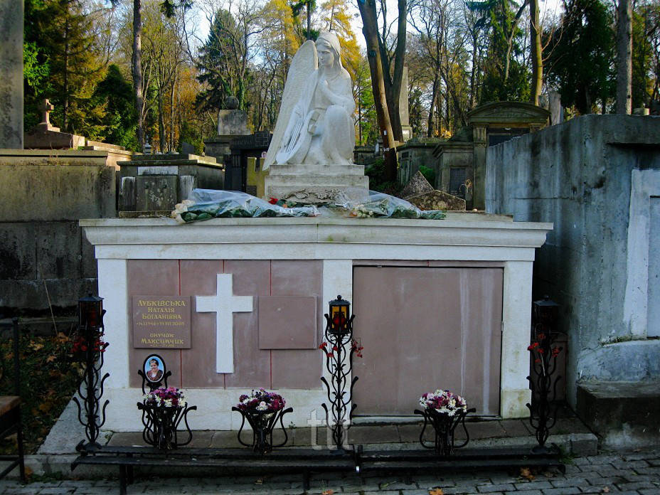 Гранитный склеп с ангелом из мрамора № 13