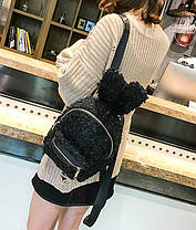 Супер стильный ворсинистый рюкзак с ушками зайца, фото 2