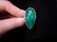 Изумруд кольцо с натуральным изумрудом в серебре 18.5-19 размер, фото 1