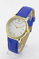Женские кварцевые наручные часы (золотой корпус, синий ремешок)