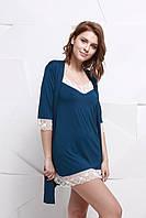 Женский халат + ночная рубашка с кружевом