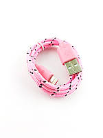 Шнур USB - iPhone, в тканевой оплетке, длина 1 м. розовый