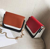 Модная двухцветная сумка-сундучок на цепочке, фото 3