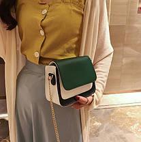Модная двухцветная сумка-сундучок на цепочке, фото 2