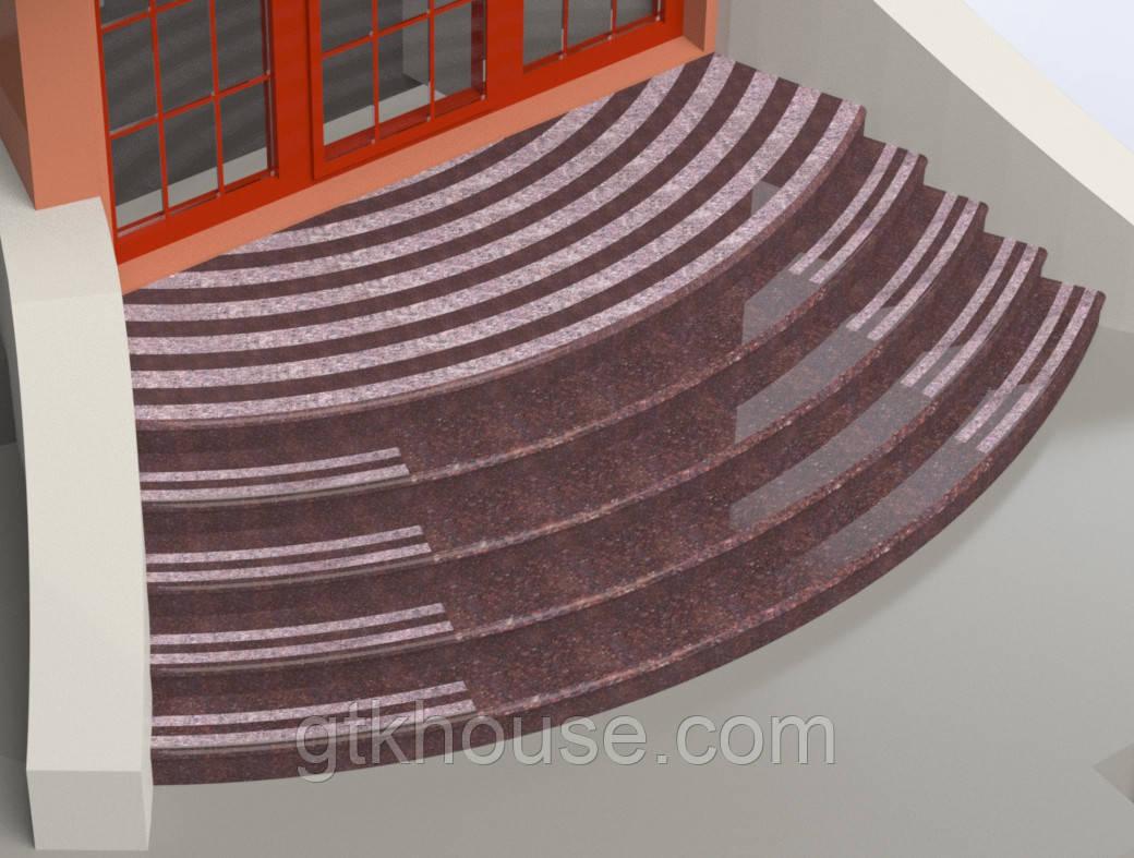 Лестница радиусная  из Токовского гранита