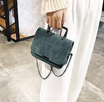 Вельветовая Fashion сумка сундучок с металлической ручкой, на цепочке, фото 2