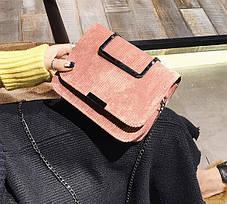 Вельветовая Fashion сумка сундучок с металлической ручкой, на цепочке, фото 3