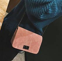 Вельветовая Fashion сумка сундучок на цепочке, фото 2