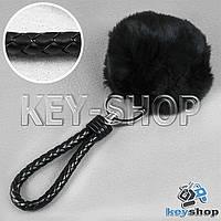 Черный пушистый меховой брелок шарик, с плетеным кожаным шнурком с кольцом на сумку, рюкзак