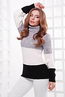 S-L / Вязаный трехцветный свитер Navy, серо-черный