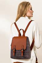 Модный городской рюкзак ранец в клетку, фото 3