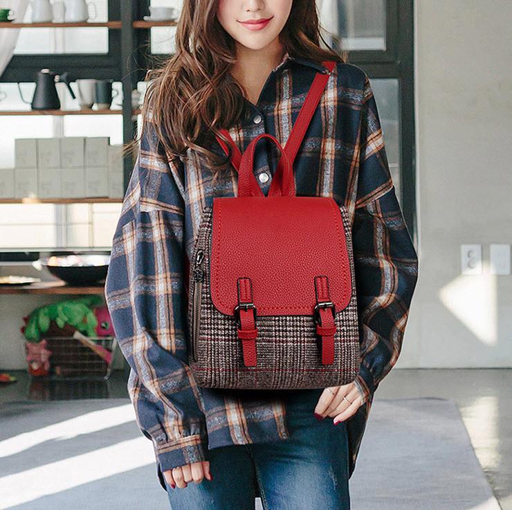 Модный городской рюкзак ранец в клетку