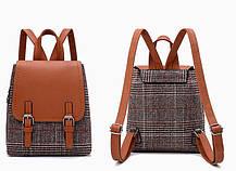 Модный городской рюкзак ранец в клетку, фото 2