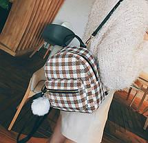 Нежный женский городской рюкзак в клетку с помпоном, фото 3