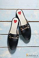 Женские. стильные тапочки мюли из натуральной кожи на невысоком каблуке.