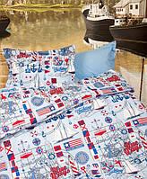 Постельное белье для подростков Lotus Premium B&G Sailor голубой полуторного размера