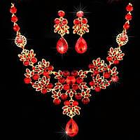 Набор бижутерии под золото с красными камнями, колье и серьги, фото 1