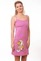 Сорочка женская с принтом розовая