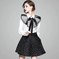 Женский костюм юбка стрейч атлас и блузка коттон с добавкой